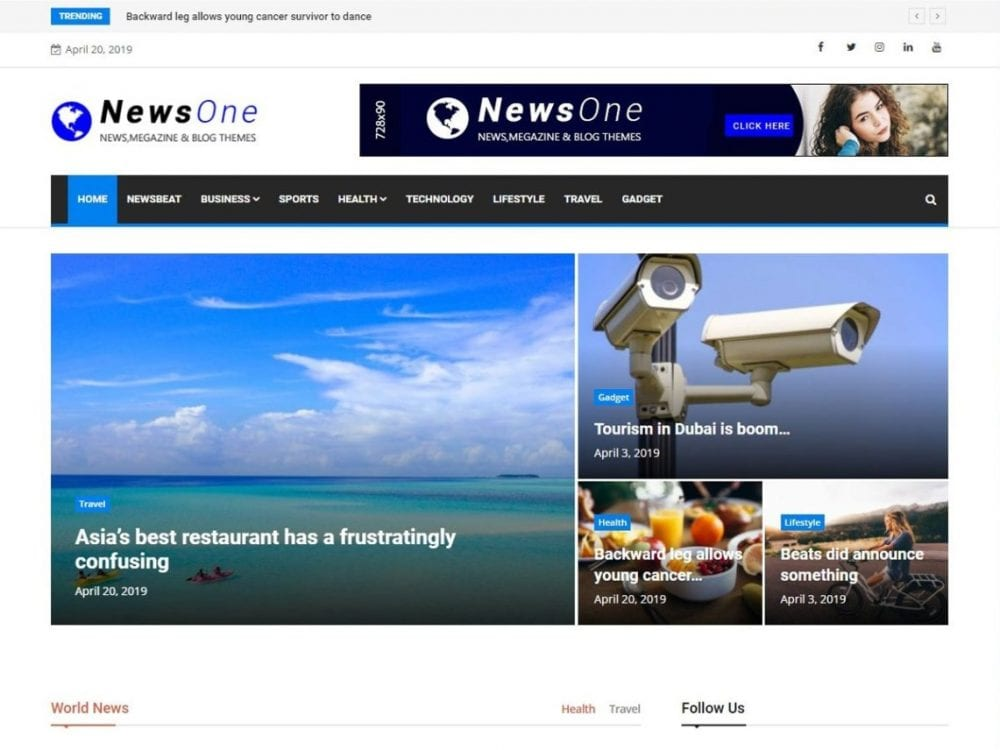 Free News One WordPress theme