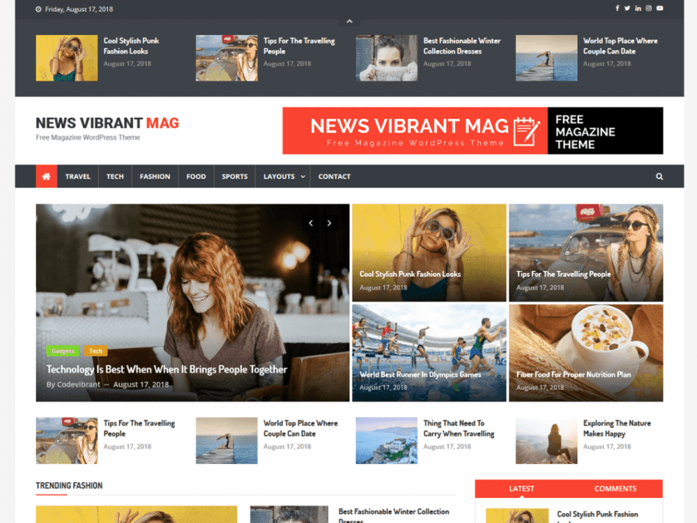 Free News Vibrant Mag WordPress theme