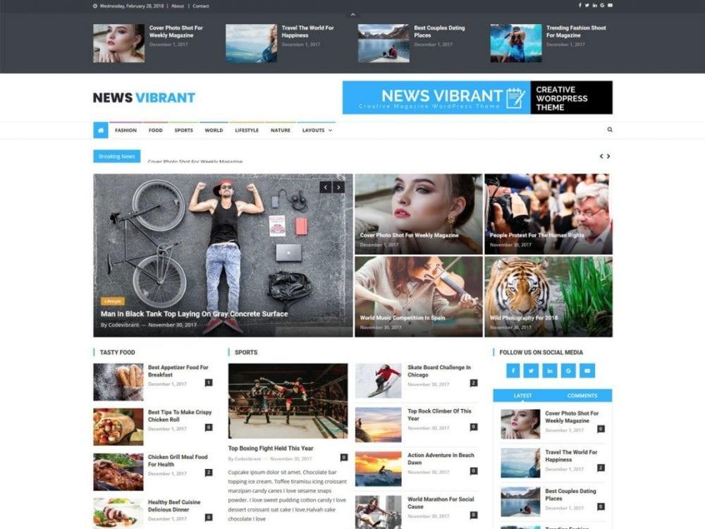 Free News Vibrant WordPress theme