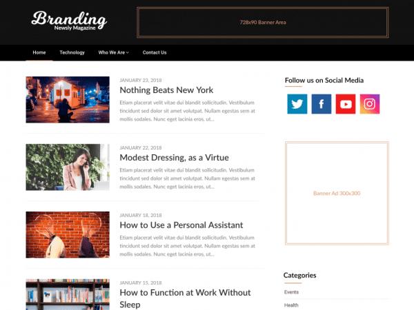 Free Newsly Magazine WordPress theme