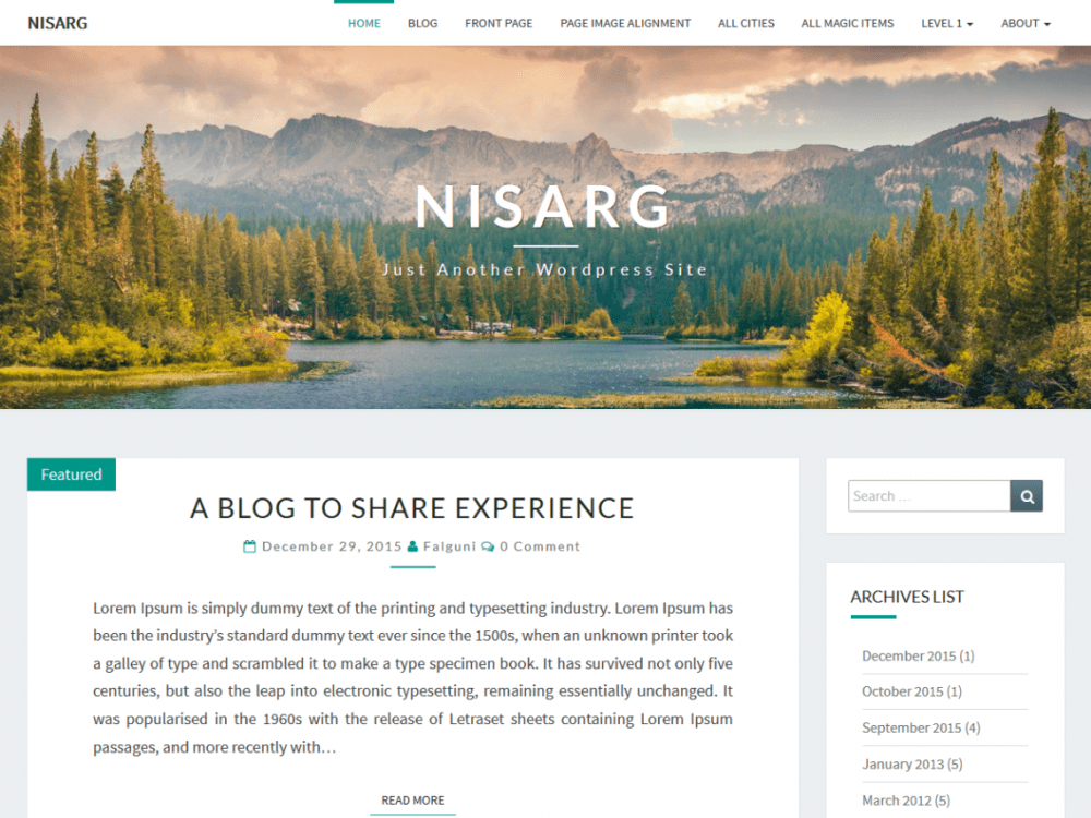 Free Nisarg WordPress theme