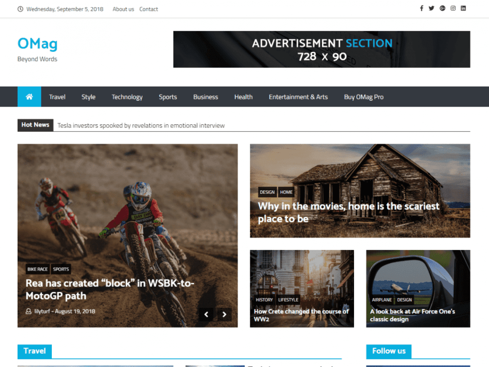 Free OMag WordPress theme