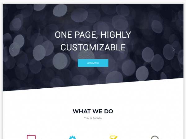 Free One Page Boxed WordPress theme