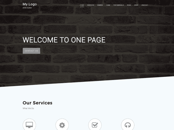 Free One Page C WordPress theme