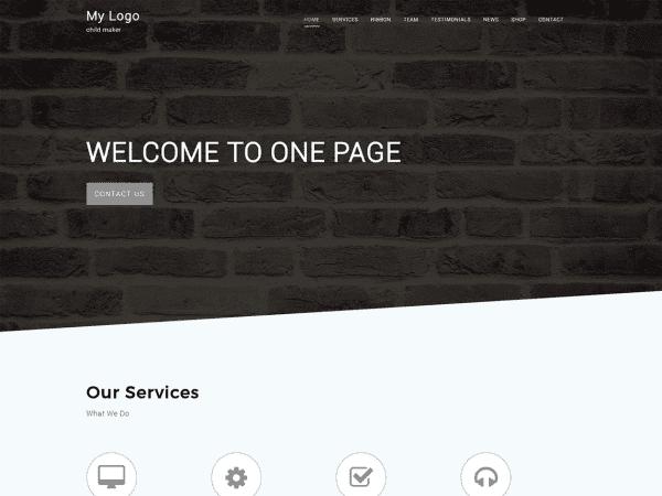 Free One Page C WordPress theme