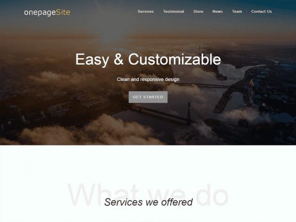 Free One Page Site WordPress theme