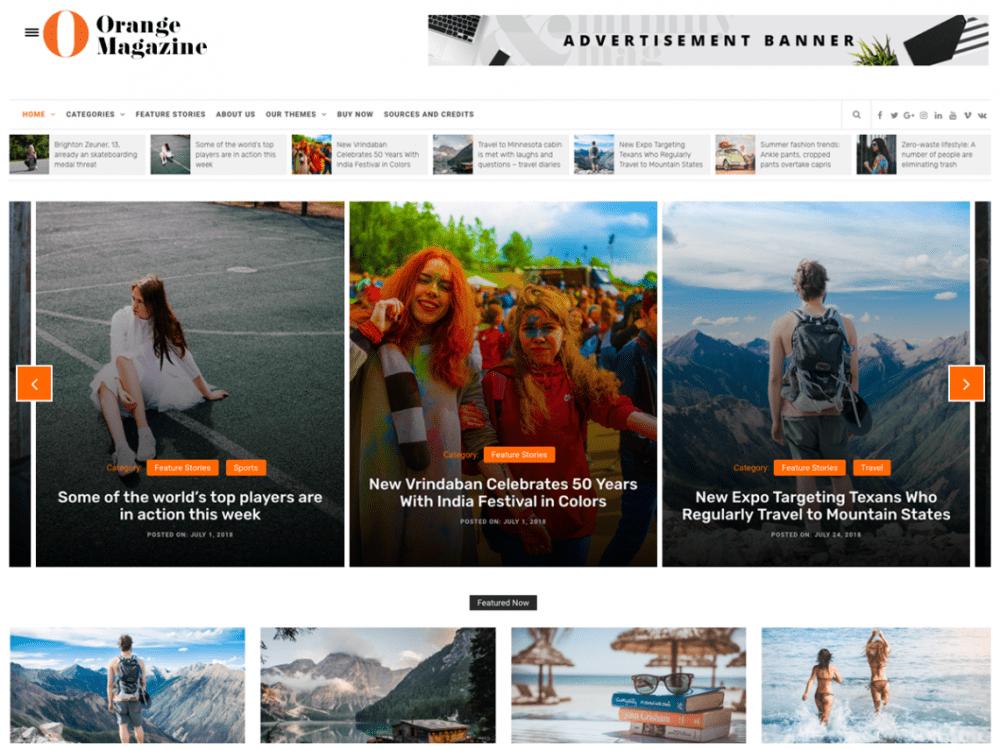 Free Orange Magazine WordPress theme