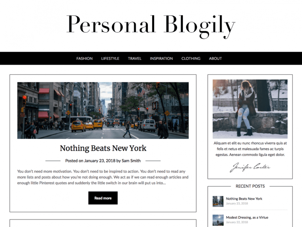 Free Personalblogily WordPress theme