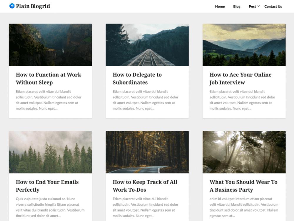 Free Plain Blogrid WordPress theme
