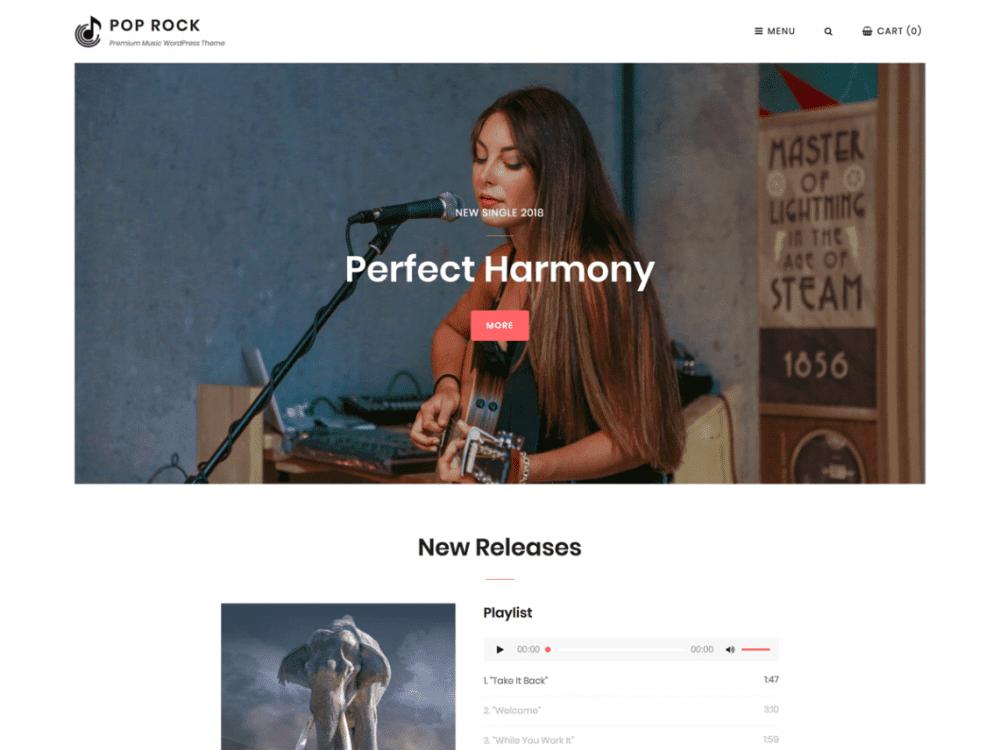 Free Pop Rock WordPress theme