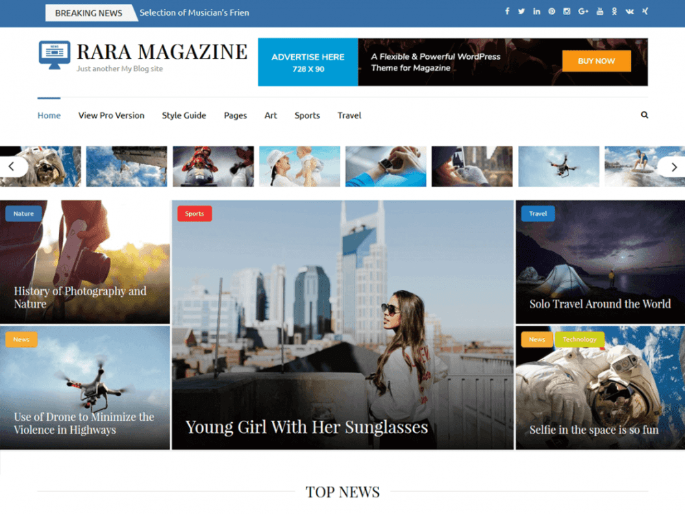 Free Rara Magazine WordPress theme