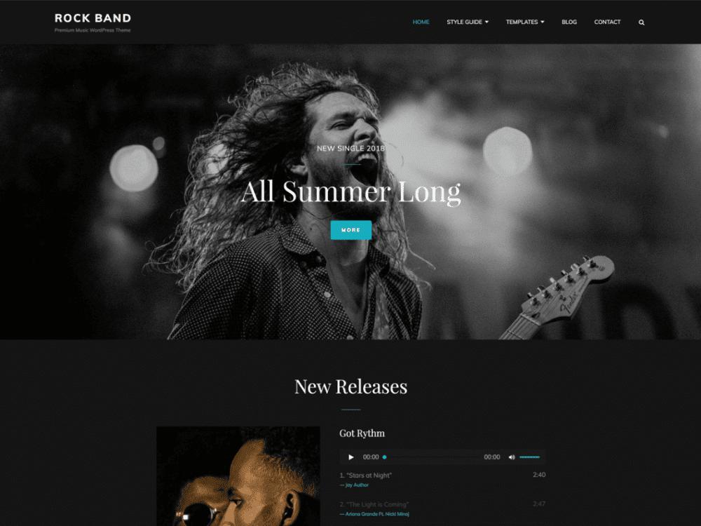 Free Rock Band WordPress theme