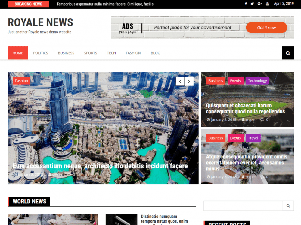 Free Royale News WordPress theme