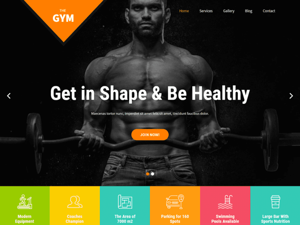 Free SKT Gym WordPress theme
