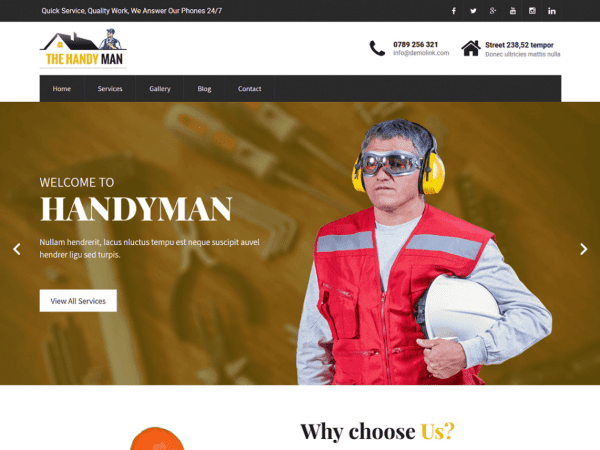 Free SKT Handyman WordPress theme