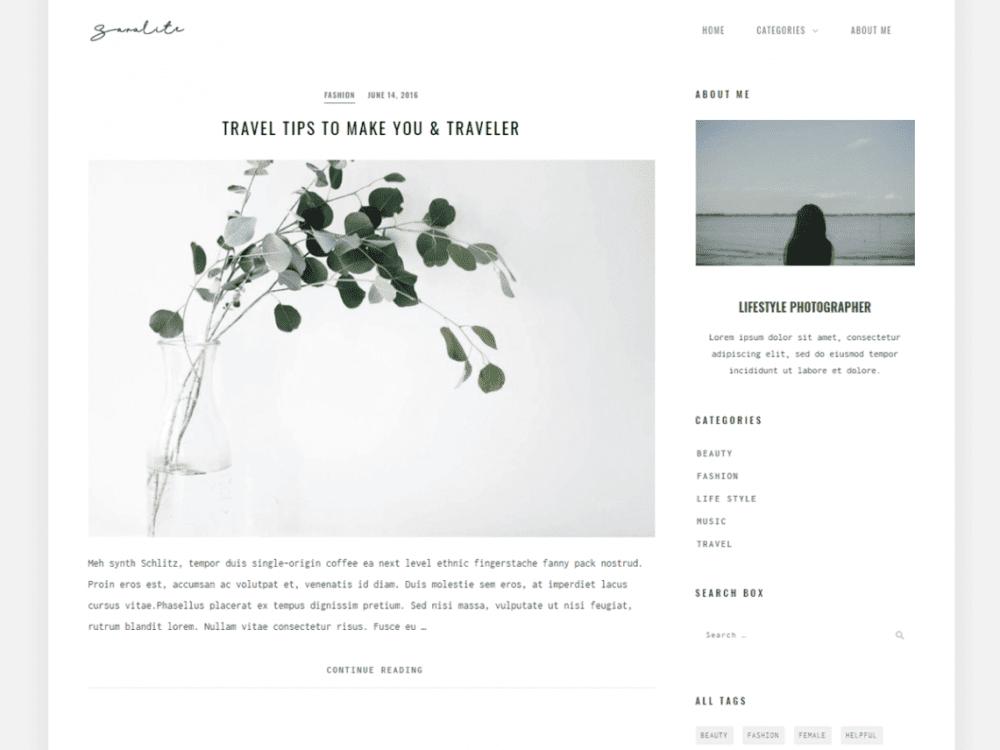 Free SaraLite WordPress theme