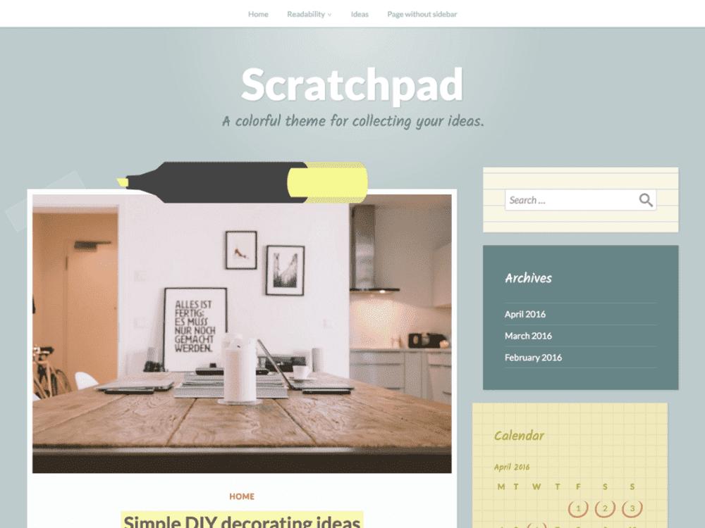 Free Scratchpad WordPress theme