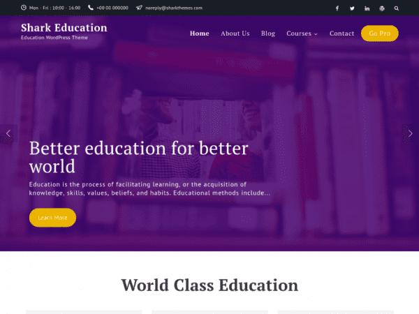 Free Shark Education WordPress theme