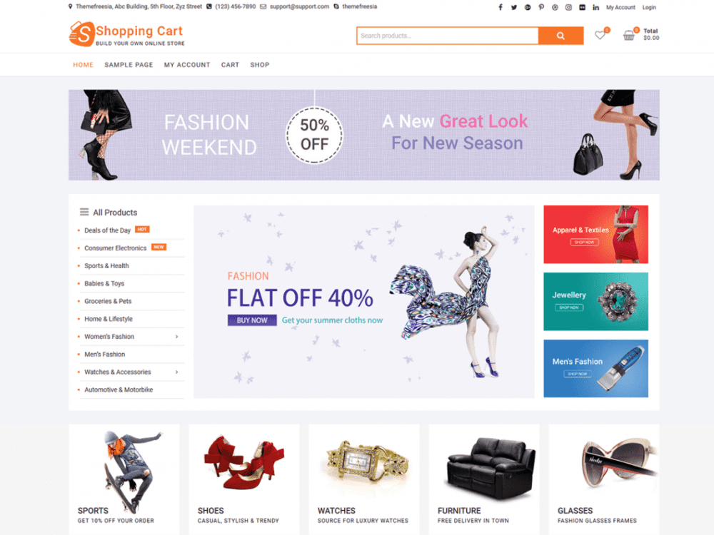 Free ShoppingCart WordPress theme