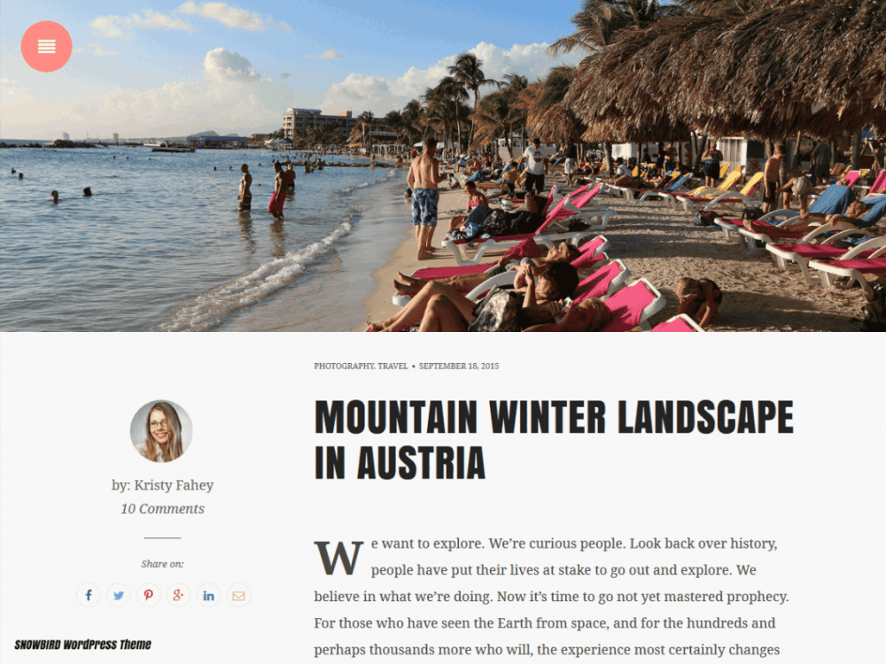 Free Snowbird WordPress theme