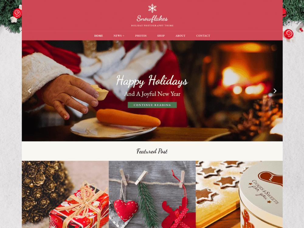 Free Snowflakes WordPress theme
