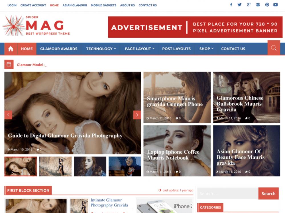 Free SpiderMag WordPress theme
