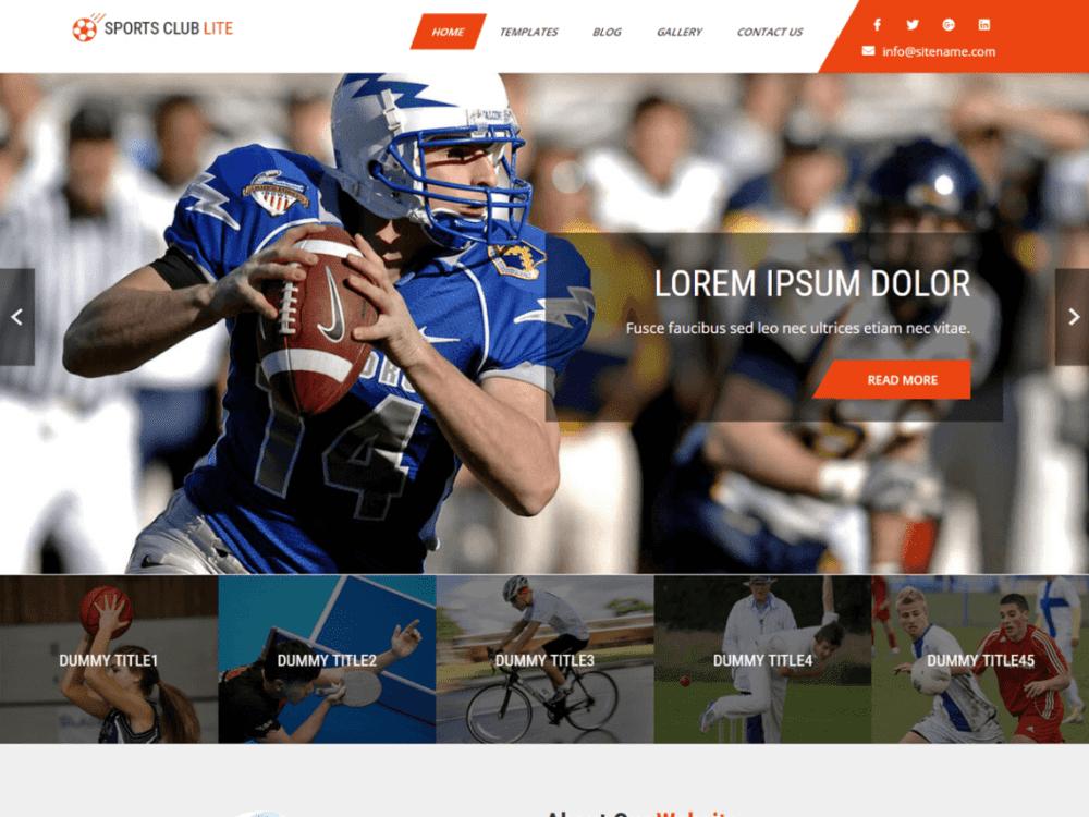 Free Sports Club Lite WordPress theme