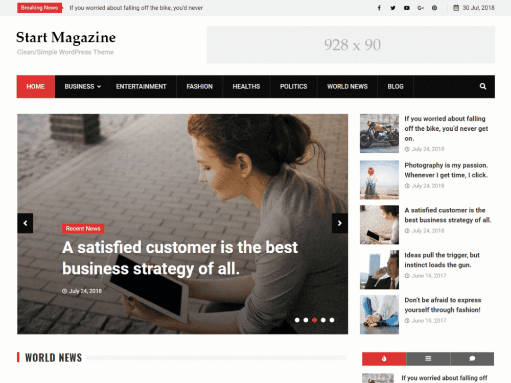 Free Start Magazine WordPress theme