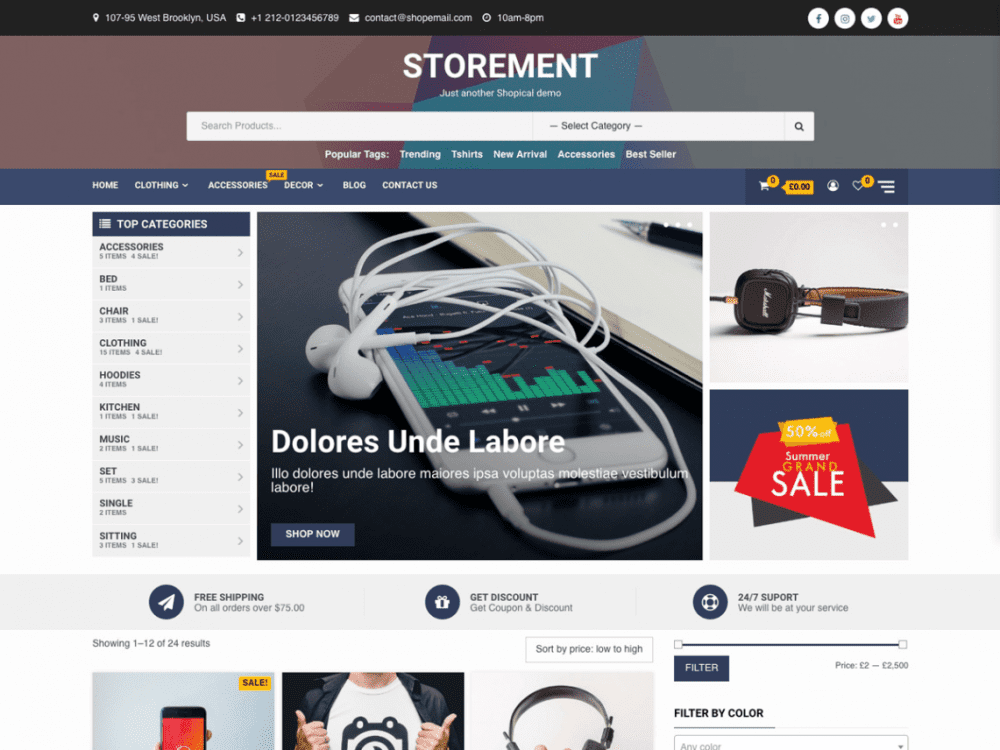Free Storement WordPress theme