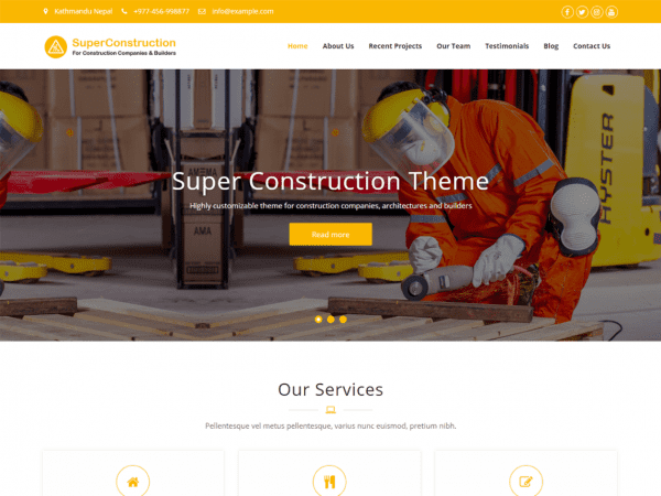 Free Super Construction WordPress theme