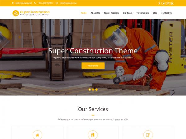 Free Super Construction WordPress theme
