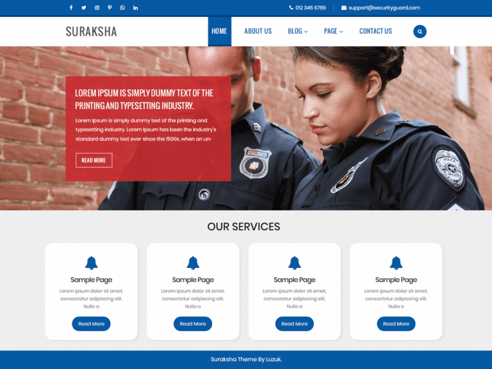 Free Suraksha Security Guard WordPress theme