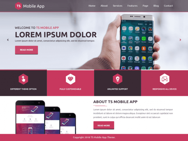 Free TS Mobile App WordPress theme
