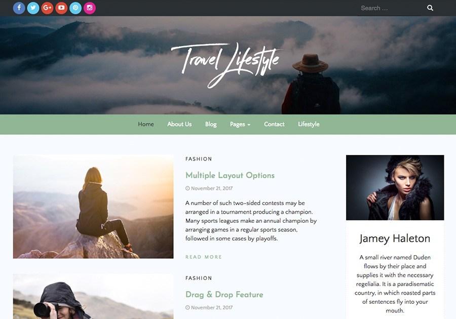 Free Travel Lifestyle WordPress theme