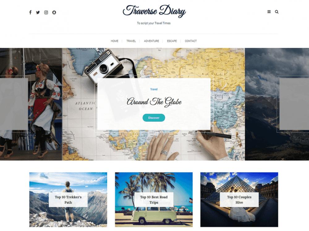 Free Traverse Diary WordPress theme
