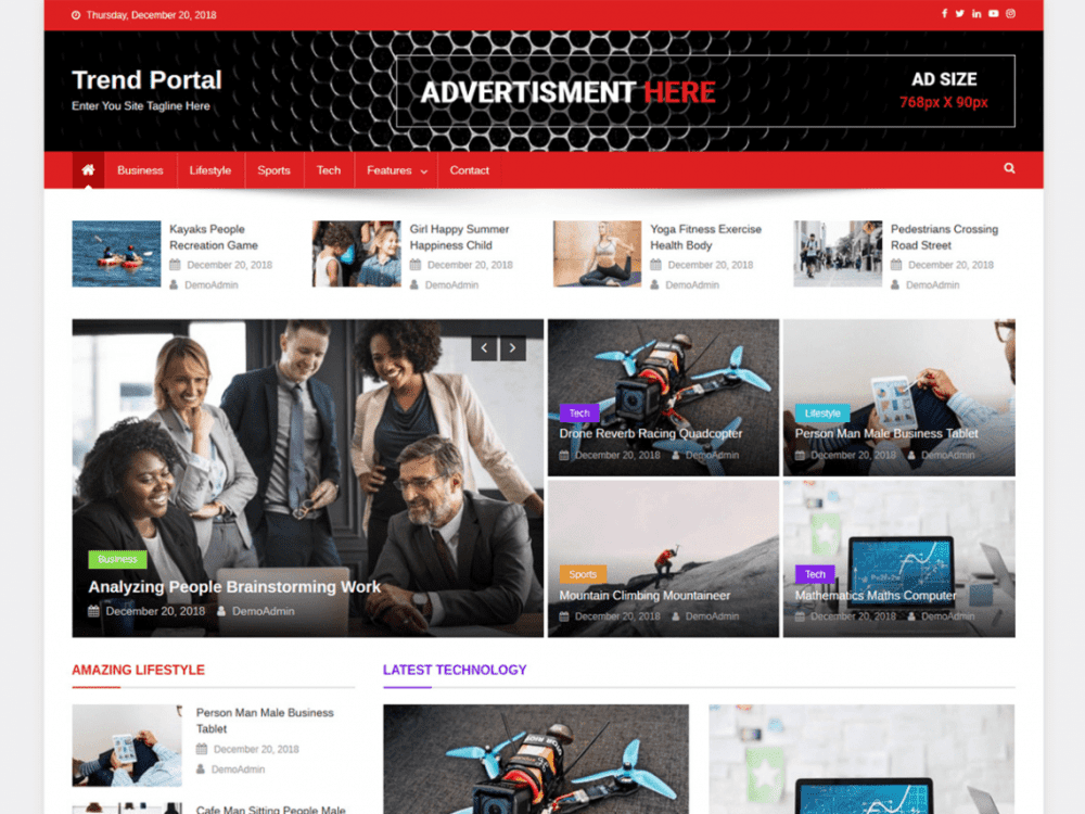 Free Trend Portal WordPress theme