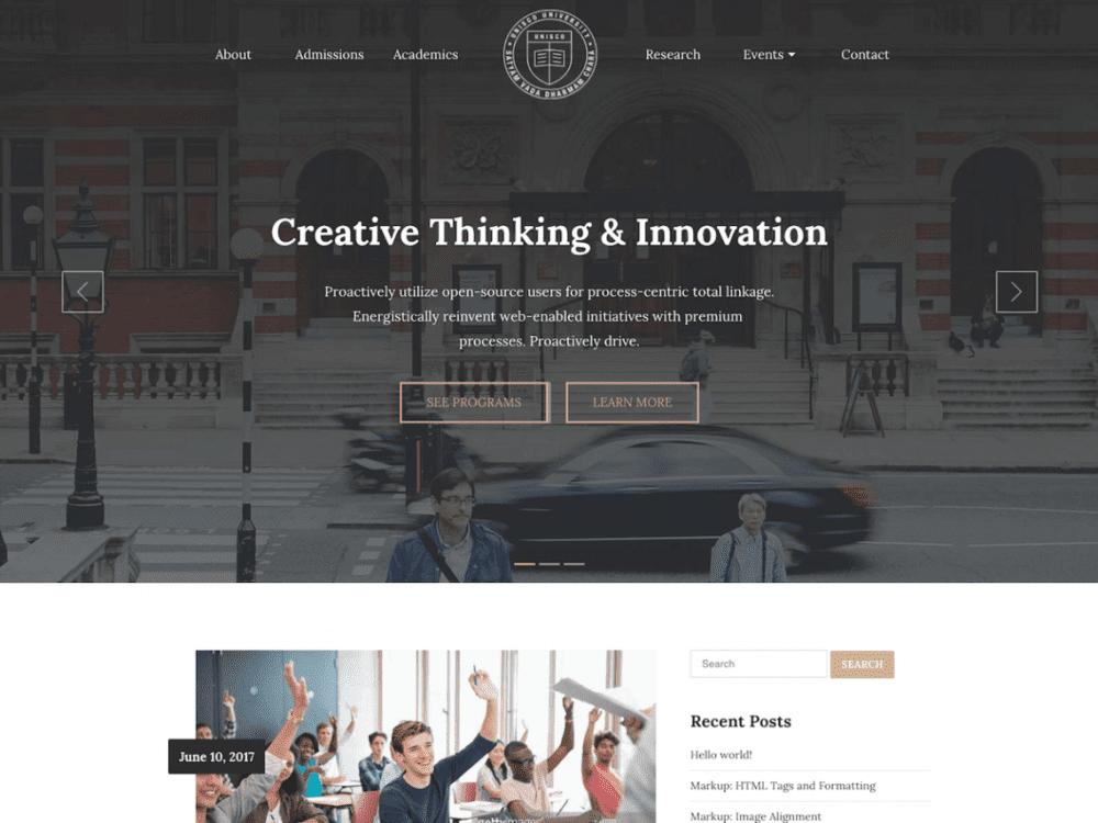 Free UNISCO WordPress theme
