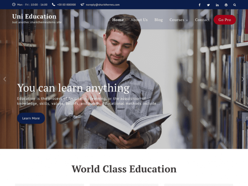 Free Uni Education WordPress theme