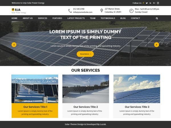 Free Urja Solar Energy WordPress theme