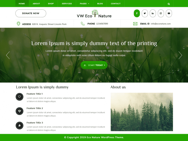 Free VW Eco Nature WordPress theme