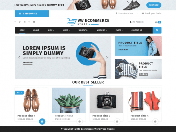 Free VW Ecommerce Store WordPress theme