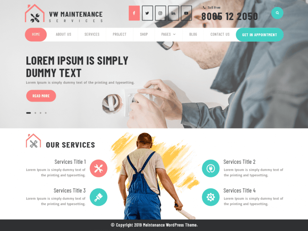 Free VW Maintenance Services WordPress theme