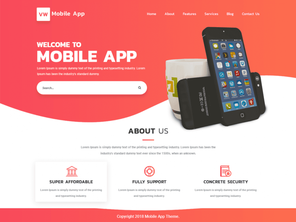 Free VW Mobile App WordPress theme
