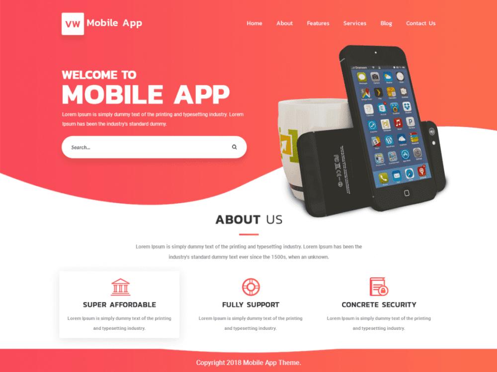 Free VW Mobile App WordPress theme