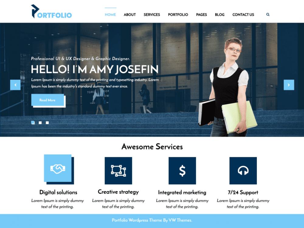 Free VW Portfolio WordPress theme