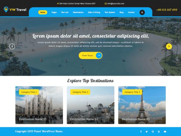 Free VW Travel WordPress theme