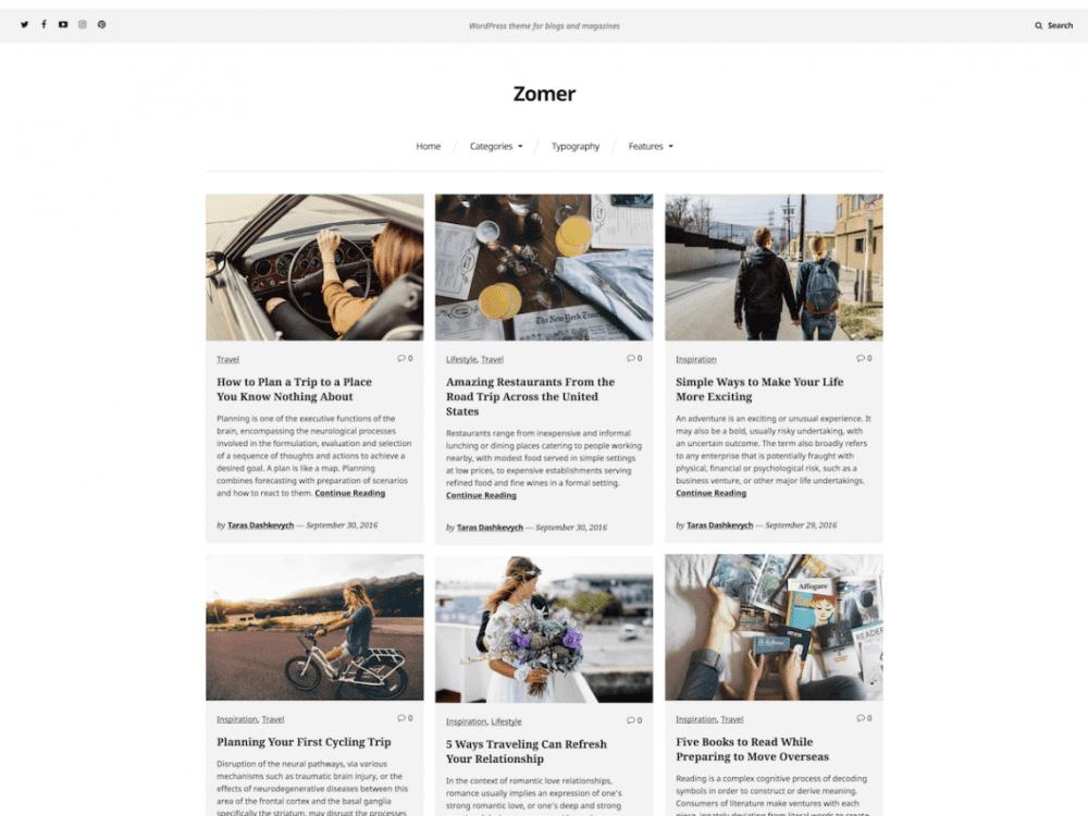 Free Zomer WordPress theme