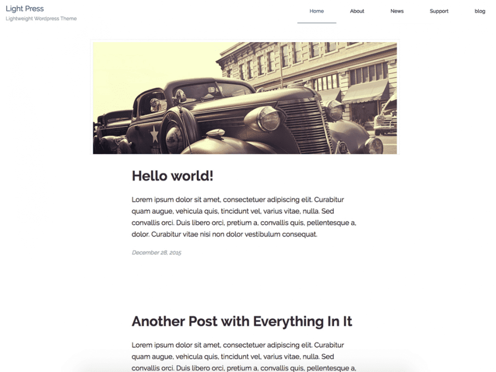 Free lightpress WordPress theme