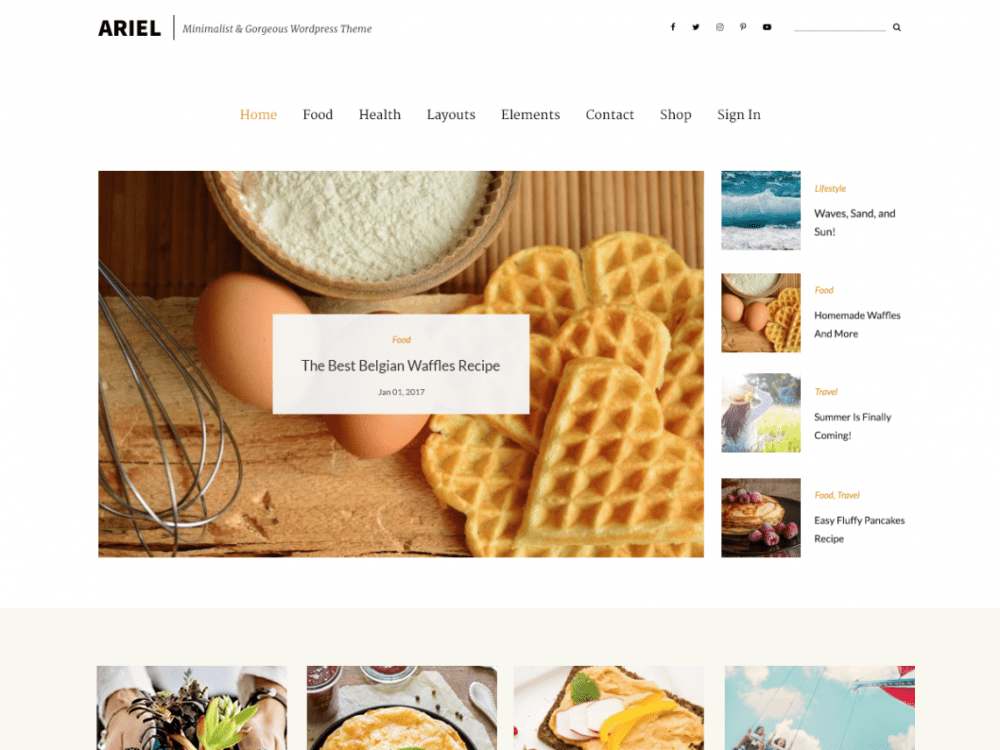Free Ariel WordPress theme