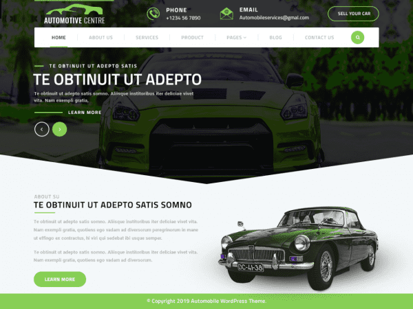 Free Automotive Centre WordPress theme